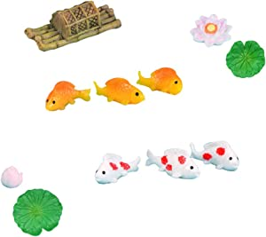 No/Brand Shine SHUNA 11Pcs/Sets Resin Lotus Pond Series Fake Toy Miniature Dollhouse Ornaments Fairy Garden Animals Micro Landscape Decor