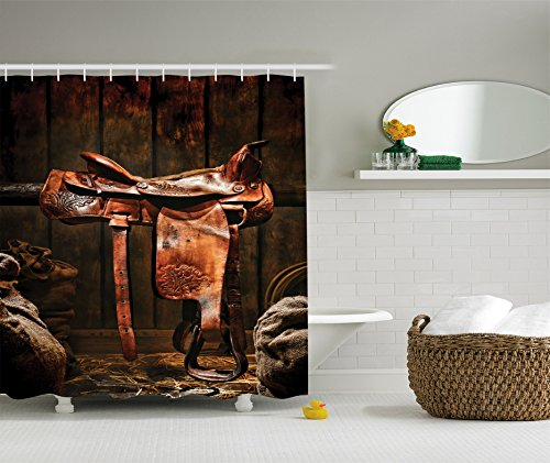 Ambesonne Western Decor Collection, Rodeo Cowboy Leather Western Saddle on Wood Beam in Rustic Ranch Wood Barn Picture, Polyester Fabric Bathroom Shower Curtain Set, 75 Inches Long, Dark Brown (Match Saddle Leather)