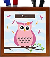 "Rikki Knight ""Jane"" Name - Cute Pink Owl on Branch with Personalized Name Design 5-Inch Tile Wooden Tile Pen Holder (RK-PH28321)"