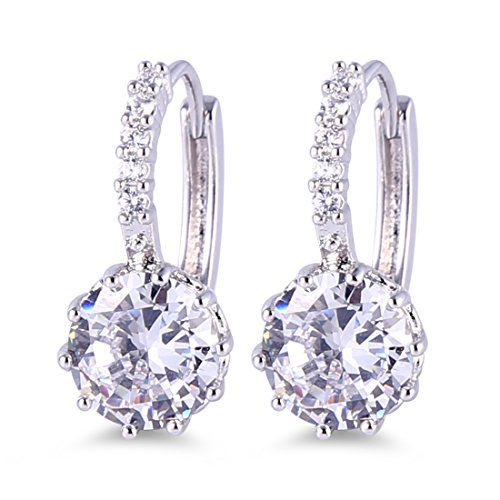 GULICX White Gold Electroplated White Cubic Zirconia Round Jewelry Hoop Lever Back Huggie Earrings ()