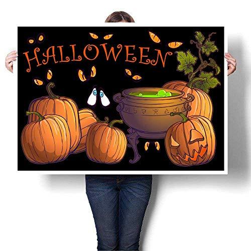 canvas print wall art Halloween pumpkins jack o lantern and cauldron with magic potion on a black background Postcard or other festive design temp Decorative Fine Art canvas Print Poster K 32