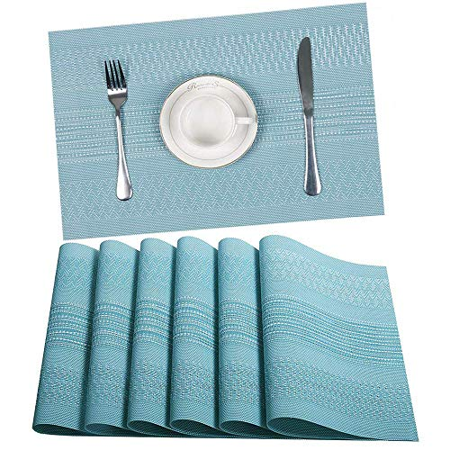 HEBE Placemats for Dining Table Set of 6 Heat Resistant Washable Woven Vinyl Place Mats Non Slip Kitchen Table Mats for Kids Kitchen,Blue