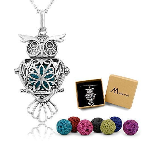Oil Necklace Lava Stone Diffuser Necklace Gift Set with 24 ins Cross Chain and 8 Lava Beads [Owl] ()