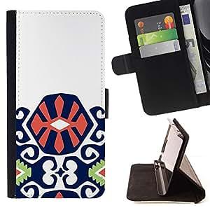 For Samsung Galaxy A3 Case , Motif Violet Vert Orange Inca - la tarjeta de Crédito Slots PU Funda de cuero Monedero caso cubierta de piel