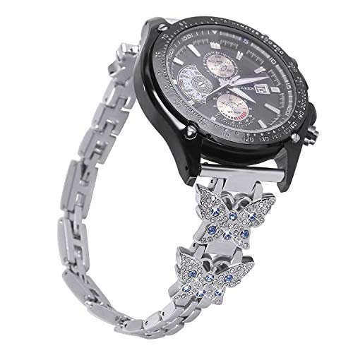 jpjbox Gear S3 Metal Silver,Women Galaxy Watch 46mm S3 Frontier Bracelet with Bling Butterfly Rhinestones,S3 Classic Elegant Jewelry Strap - Elegant Butterfly Rhinestones