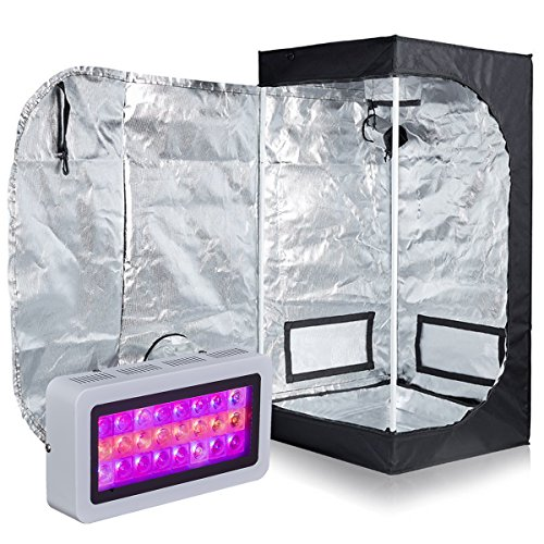 PrimeGarden 24''X24''X48'' 600D Mylar Grow Tent + LED 300W Full Spectrum Grow Light Hydroponic Indoor Growing System Complete Package Grow Tent Kit (LED300W, ()