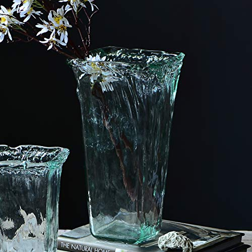 Cyl Home Vases Handblown Flared Wide Mouth Tall Flower Arrangement Glass Vase Turquoise Decor for Dining Living Room Table Centerpieces Wedding Accent Gift, Square Bottom, 12.6'' H x 3.9'' D