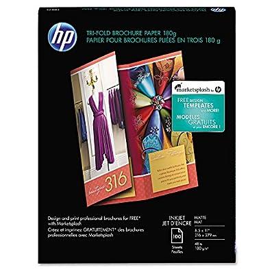 HP Q5443A Tri-Fold Brochure Inkjet Paper, 8.5x11, Matte White, 100 Sheets/PK