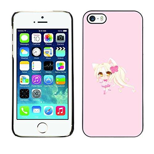 TopCaseStore / caoutchouc Hard Case Housse de protection la Peau - Blonde Anume Character Cat Ears Girl - Apple iPhone 5 / 5S