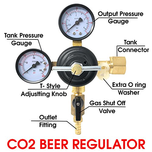 Co2 Beer Regulator Pressure Kegerator Heavy Duty Features T-Style Adjusting Handle - 0 to 60 PSI-0 to 3000 Tank Pressure by Pro Co2 Beer Regulator