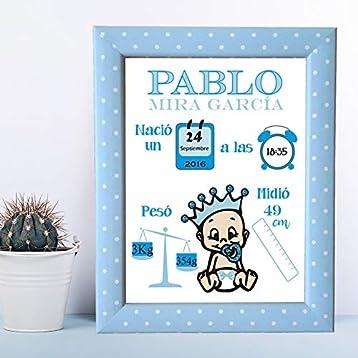 Kembilove Lámina de Nacimiento Personalizada con los datos del Bebe - Regalo Original Recién Nacido - Para Niño, Nene, Chico - Incluye: Lámina + Marco: Amazon.es: Handmade