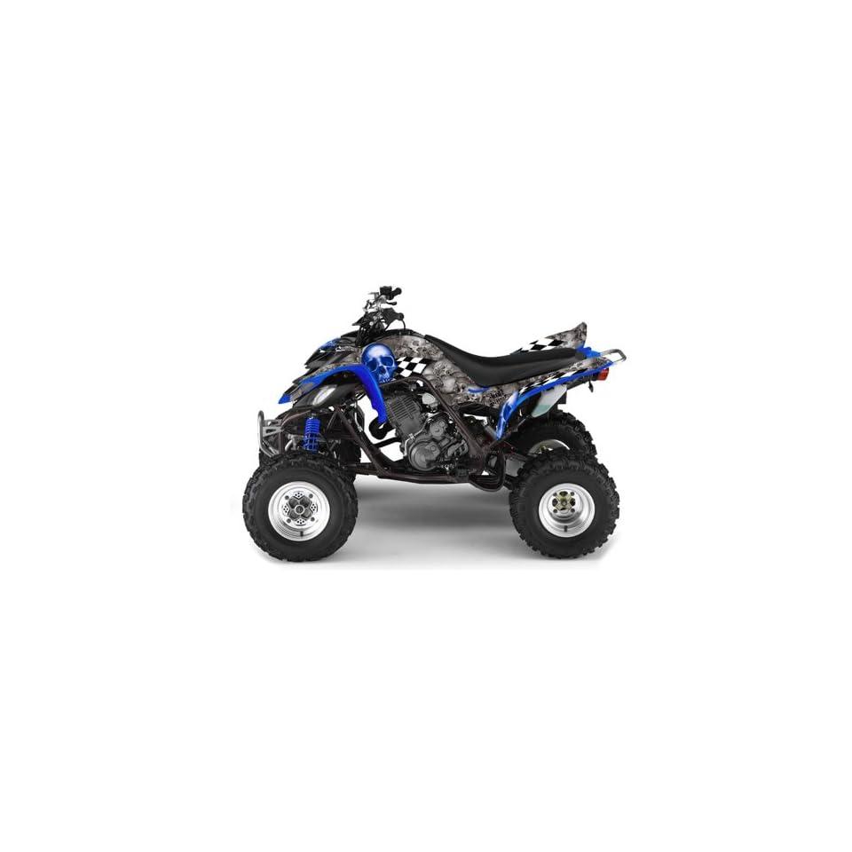 AMR Racing Yamaha Raptor 660 ATV Quad Graphic Kit   Checkered Skull Silver,