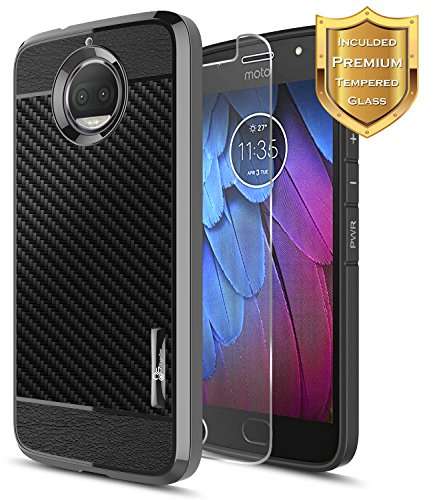 Moto G5S Plus Case, Moto G5S+ Case with [Tempered Glass Screen Protector], NageBee [Frost Clear] [Carbon Fiber] Premium Slim Protective Rubber Case For Motorola G5S+ / G5S Plus XT1806 (Black)