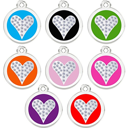 CNATTAGS Stainless Steel with Enamel | Dog Tags Pet Tags Cat Tags | Designers Crystal Round Heart| by (LIFE TIME WARRANTY) (Red)