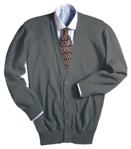 Edwards Garment Men's Machine Washable V Neck Cardigan, HEATHER GREY, Large