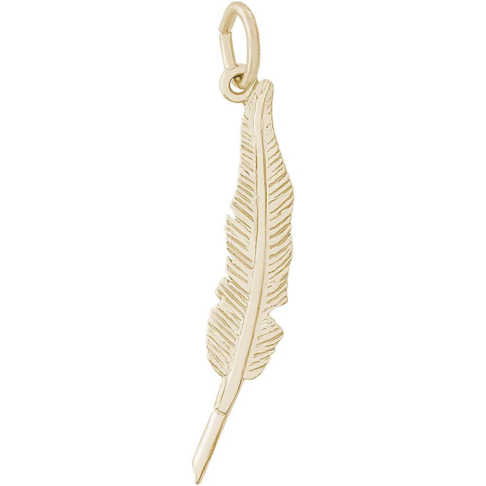 Rembrandt Charms Feather Pen Charm, 14K Yellow Gold