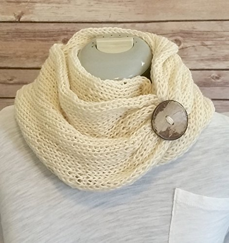 Ivory Handmade Knit Infinity Cowl Figure Eight Scarf with Coconut Button