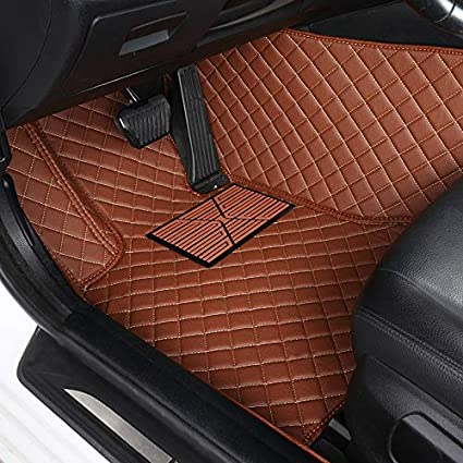 Unicozy Custom Car Floor Mat Front and Rear Liners All Weather for Lexus ES350 2005-2012 Coffee
