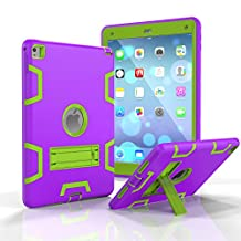 iPad Air 2 Case,MAKEIT [Kickstand Feature],Shock-Absorption / High Impact Resistant Armor Defender Case For iPad Air 2 / iPad 6(Purple/Fluorescent green)