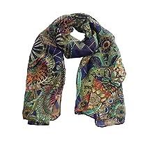 Willtoo(TM) Women Summer Chiffon Printed Silk Long Soft Scarf Shawl Scarf (Navy)