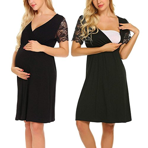 Lywey Womens Maxi Dress - Lace Splice Maternity Pregnant Nursing Pregnancy Short Sleeve Pajamas for Halloween Theme Party (XX-Large, Black) -