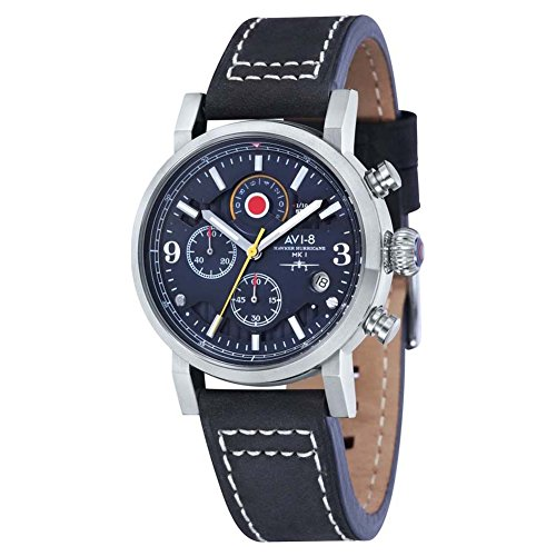 AVI-8 AV-4041-03 Mens Hawker Hurricane Black Leather Strap Chronograph Watch