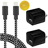 Boost Chargers 5W USB Power Adapter Wall Charger 1A Cube for Plug Outlet w/ 3FT Nylon Braided Sync & Charger Cord Compatible for iPhone 8 / X / 7 / 6S / Plus + More (Black) 2-Pack