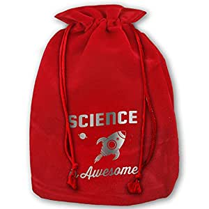 Science Is Awesome For Young Scientists Red Velvet Drawstring Santa Plush Gift Bag For Christmas Wedding Gifts