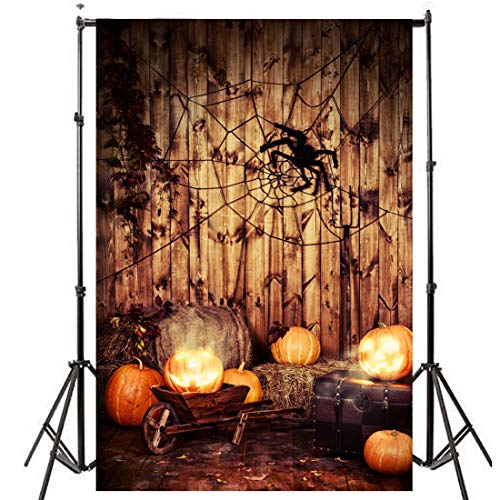 5 x 7ft Photography Backdrops Halloween Night Pumpkin Vinyl Background -