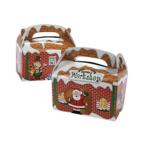 Dozen Santa's Workshop Cardboard Treat - Holiday Box Cookie