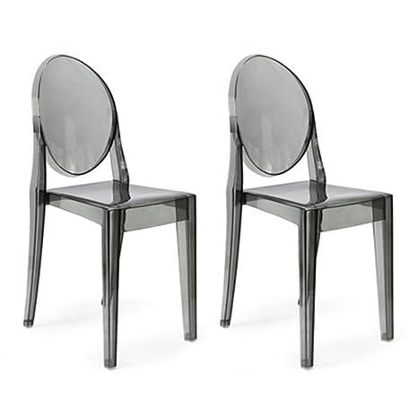 Amazon.com: Luxe muebles Louis Ghost sillas laterales – par ...