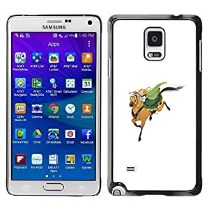 Cubierta protectora del caso de Shell Plástico || Samsung Galaxy Note 4 SM-N910 || Horseman White Green Redhead Cute @XPTECH