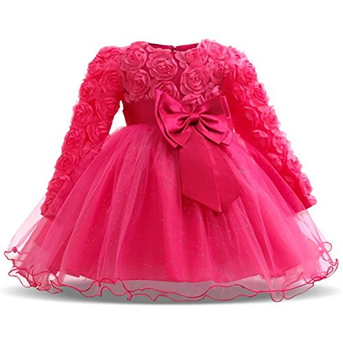 NNJXD Girl Long Sleeves Lace 3D Flower Tutu Holiday Princess Dresses Size (70) 0-6 Months Rose