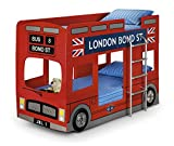 Happy Beds London Bus Bunk Bed Red Wooden Kids 2x Memory Foam Mattress 3' Single 90 x 190 cm