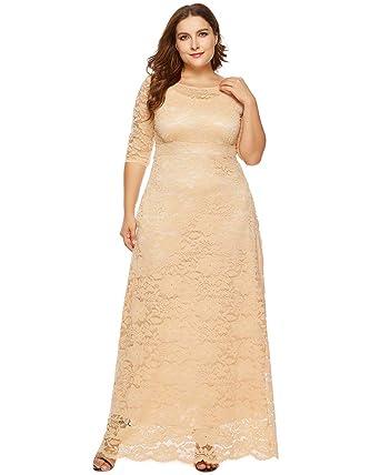 10047054c3 Medeshe Damen Elegante Blumenspitze Lange Ärmel Große Größen Brautjungfer  Maxi Kleid (L/44,