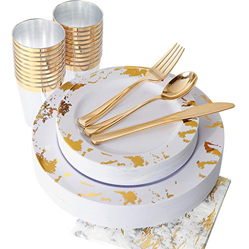 (NERVURE 175PCS Gold Marbling Disposable Plastic Plates and Silverware Set:25 Dinner Plates,25 Dessert Plates, 25 Forks,25 Knives, 25 Spoons, 25 Cups,25 Napkins.)