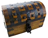 Well Pack Box Pirate Treasure Chest Box 14'x 9'x 8' with Iron Accents - Lock and 2 Skeleton Keys (Large)