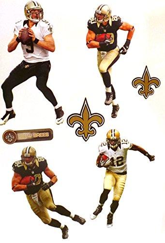 New Orleans Saints Mini FATHEAD Team Set 4 Players + 2 Saints Logo Official NFL Vinyl Wall Graphics 7