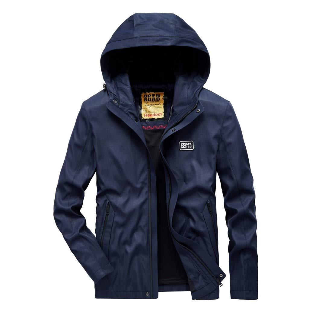 VZEXA Mens Coat Autumn Hooded Waterproof Quick-Drying Breathable Sport Outerwear Blue by VZEXA
