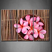 First Wall Art - 3 Panel Wall Art Pink Many Pink Frangipani In Bowl On Bamboo Mat Painting The Picture Print On Canvas Flower Pictures For Home Decor Decoration Gift piece (Stretched By Wooden Frame,Ready To Hang)