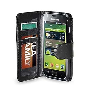Funda con tapa de color negro y bolsillos con cierre magnético para Samsung Galaxy S I9000