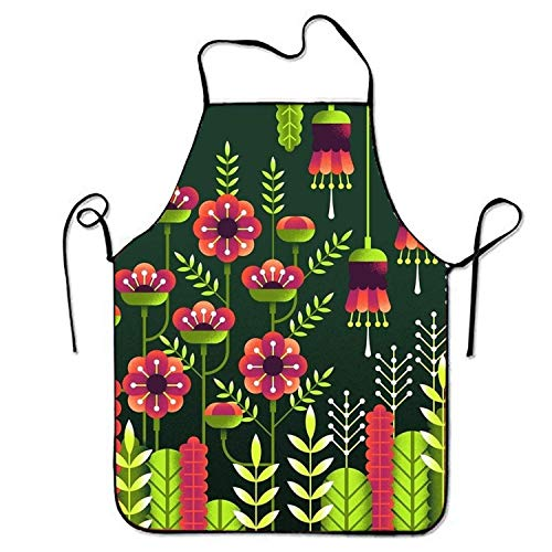 Sandayun88x Bib Aprons Flowers Sweetheart Chef Kitchen Apron for Women Men -