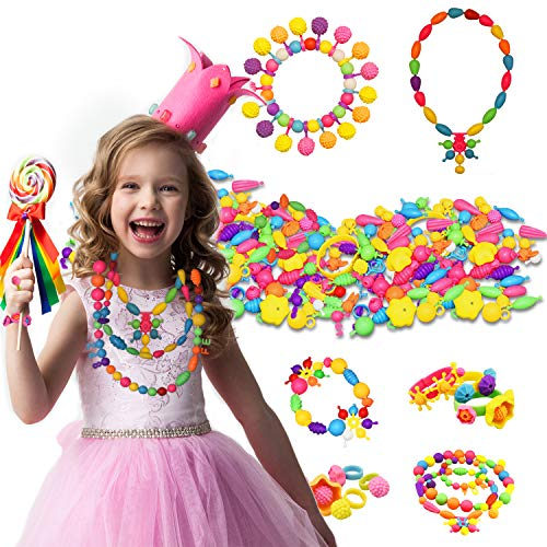 (Creative Toys for 5-10 Year Old Girls, Dmazing Pop Beads Arts And Crafts for Girls Kids Toys for Girls Age 3-8 Birthday Gifts for Girls Age 3-10 300 pcs DDUSPB01)