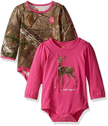 Carhartt Baby Girls' 2 Pack Long Sleeve Bodysuit, Pink Realtree Xtra/Pink, 18 Months