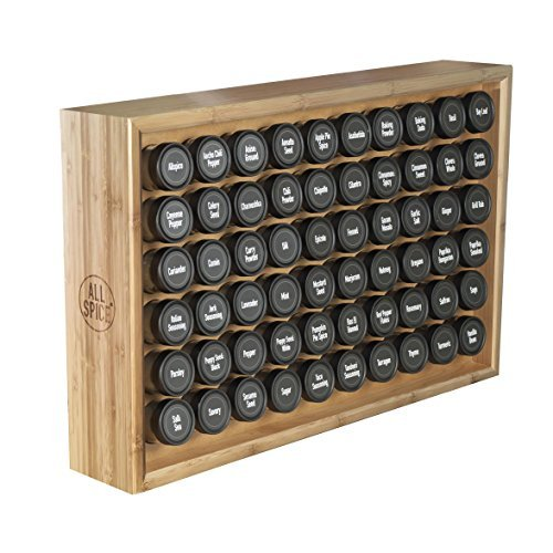 AllSpice Wooden Spice Rack, Includes 60 4oz Jars- Bamboo