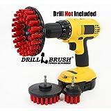 Stiff Bristle Nylon Round Scrub Brush Cordless Drill Powered 3 Brush Kit