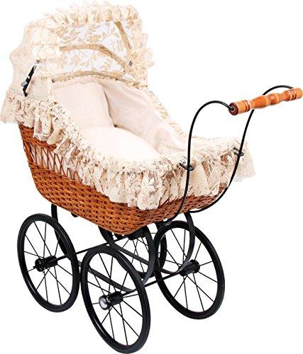 Small Foot by Legler Puppen-Kinderwagen Cornelia mit Weißenkorb, groß, Vintage-Stil, Antik-Puppen-Kinderwagen Cornelia, inkl. Bettwäsche