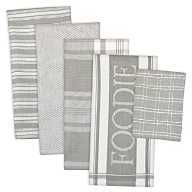 DII 100% Cotton, Ultra Absorbent,  Washing, Drying, Foodie Kitchen Dishtowel 18 x 28  & Dishcloth 13 x 13 ,  Set of 5- Light Gray