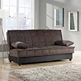 Convertible Comfy Sofa, Chocolate Microsuede. This Sleeper Sofa Is Perfect For Guests. The Stylish Convertible Sofa Has Storage Underneath and A Sturdy Wooden Frame. It Easily Converts Into A Bed - Approx Full Size. Youll Love Our Sleeper Sofas