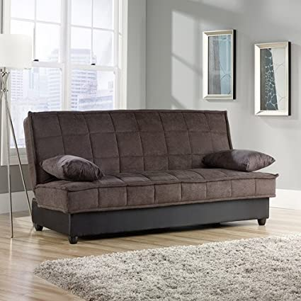 Convertible Comfy Sofa, Chocolate Microsuede. This Sleeper Sofa Is Perfect  For Guests. The